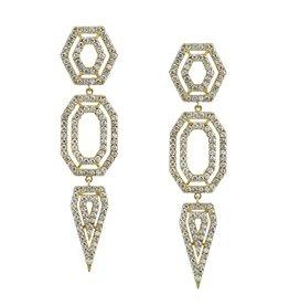 Earrings 18K Yellow Gold, Pave Diamond Hexagon Chandelier Earrings3.27cts  diamonds