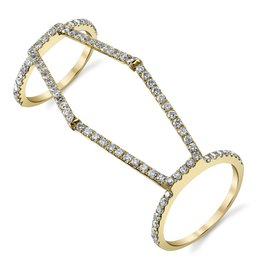 Double Rings 18k Yellow Gold Diamond Hexagon Double Ring1.36cts diamonds
