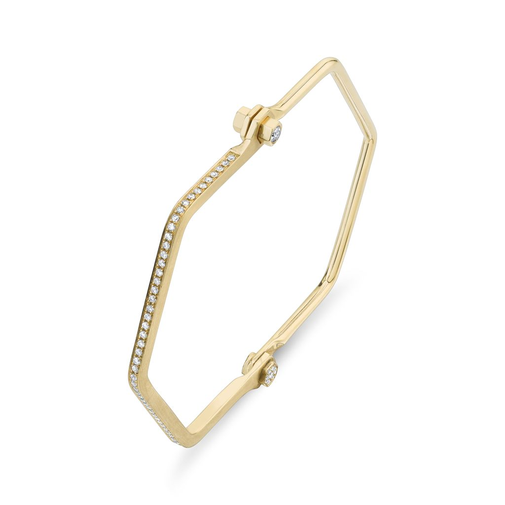 18K Yellow Gold, Pave Skinny Hexagon Handcuff W/ White Diamonds<br />