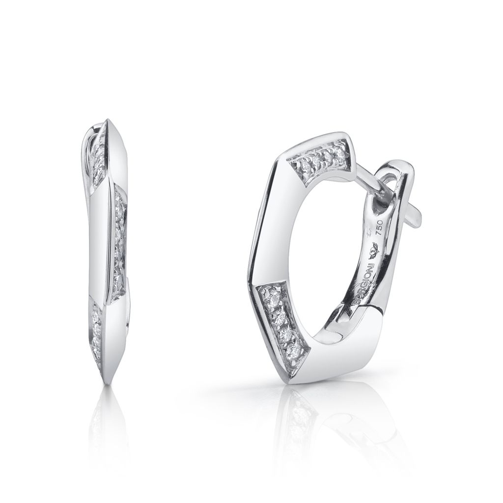 18K White Gold Diamond Hex Huggies<br />