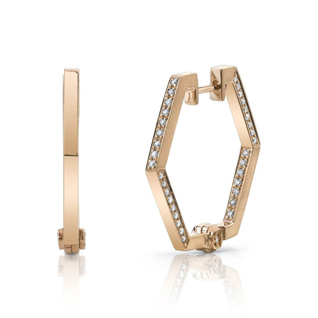 18K Rose Gold, Pave Diamond Hex Handcuff Hoop Earring<br />