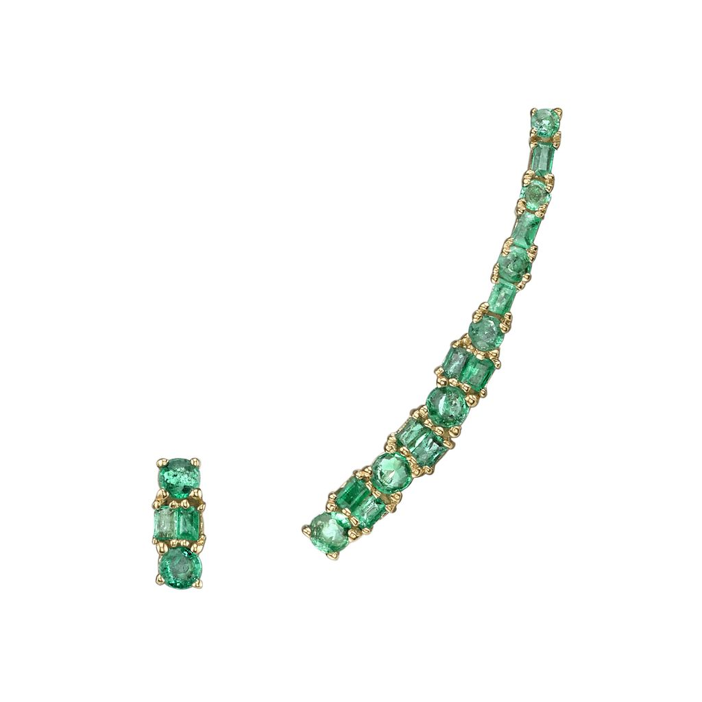 18K Yellow Gold Mixed Cut Emerald Ear Climber &amp; Stud<br /> .86cts emeralds