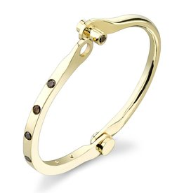 Handcuffs 14K Yellow Solid Gold, Brown Diamond Burnished Handcuff.90 cts. brown diamondsSize 1