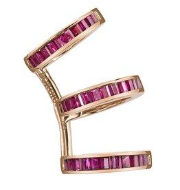 Ear Cuff 18K Rose Gold, Ruby Baguette Triple Earcuff1.19cts ruby