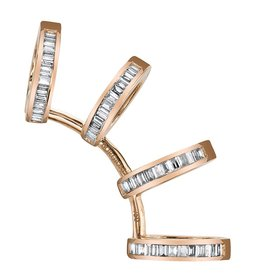Earcuff 18K Rose Gold, Diamond Baguette Multi Earcuff.87cts diamonds