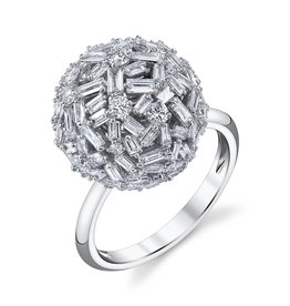 Rings 18K White Gold Large Pave Mixed Cut Diamond Ball Ring3.61cts diamonds