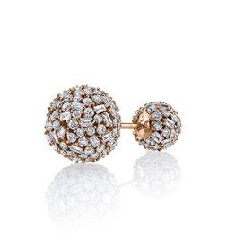 Stud Earring 18K Rose Gold Pave Mixed Cut Diamond Double Ball Stud2.65cts diamonds
