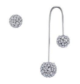 Drop Earring 18K White Gold Pave Mixed Cut Diamond Drop Ball Earring with Stud2.75cts diamonds