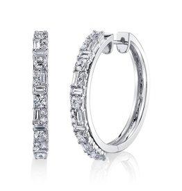 Hoops 18K White Gold Mixed Cut Diamond Hoops2.01cts diamonds