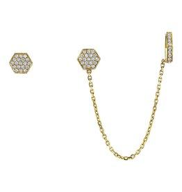 Earcuff 18K Yellow Gold Diamond Octagon Chain Earcuff.40cts diamond