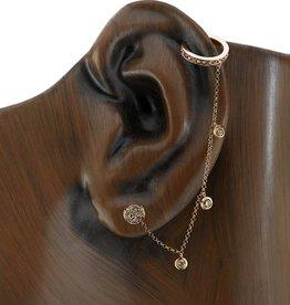 Earcuff 18K Rose Gold, Rosecut Brown Diamond  Chain Earcuff.62cts brown diamonds