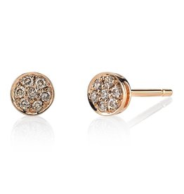 Earrings 18K Rose Gold, Small Pave Brown Diamond Rose Cut Studs.18cts brown diamonds