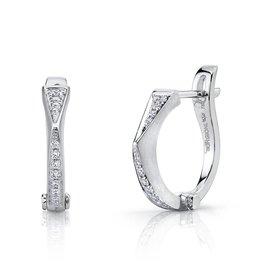 "Huggies 18k White Gold Diamond ""V"" Huggies.15cts diamonds"