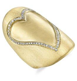 Rings 18k Yellow Gold Diamond Heart Ring.36cts diamonds