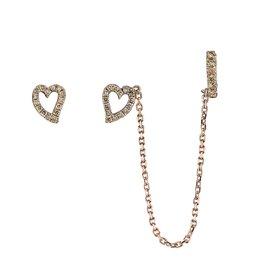 Earcuff 18k Rose Gold Brown Diamond Heart Earcuff.37cts brown diamonds