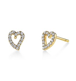 Earrings 18K Yellow Gold, Small Pave Diamond Heart Studs.28 cts. diamonds