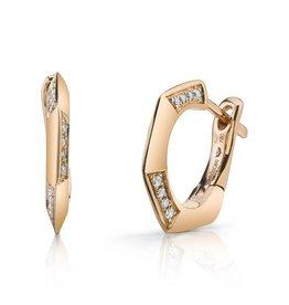 Huggies 18K Rose Gold, Diamond Hex Huggies.15cts diamonds