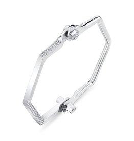 Handcuffs 18K White Gold, Pave Hexagon Handcuff W/ White Diamonds.93cts diamonds