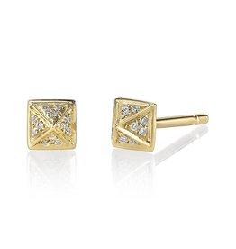 Earrings 18K Yellow Gold, Small Pave Diamond Pyramid Studs .15cts diamonds