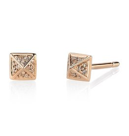 Earrings 18K Rose Gold, Small Pave Brown Diamond Pyramid Studs.15cts brown diamonds