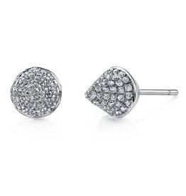 Earrings 18K White Gold, Pave Diamond Spike Studs.72cts diamonds