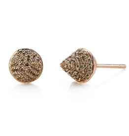 Earrings 18K Rose Gold, Pave Brown Diamond Spike Studs.72cts brown diamonds