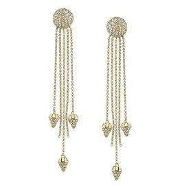 Earrings 18K Yellow Gold, Pave White Diamond Spike Dangle Earrings (3 1/2 inches)1.2cts white diamonds
