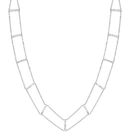 Choker 18K White Gold Diamond Baguette Chain Choker1.59cts  baguettes