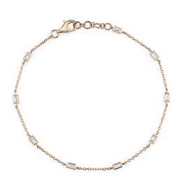 Bracelet 18K Rose Gold  Diamond Baguette By The Yard Bracelet .34cts baguette diamonds