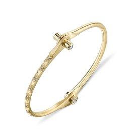 Handcuffs 18K Yellow Gold Pave Skinny Pyramid Handcuff w/ White Diamonds.38cts diamond