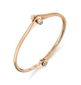 Handcuffs 18K Rose Gold Skinny Handcuff w/ Diamond Knobs.38cts. diamond