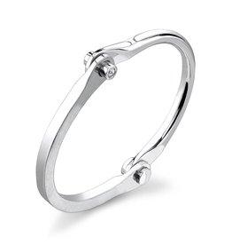 Silver Handcuffs Women's Silver Handcuff w/ White Diamond Studs.20 cts. wh di'ssize 1