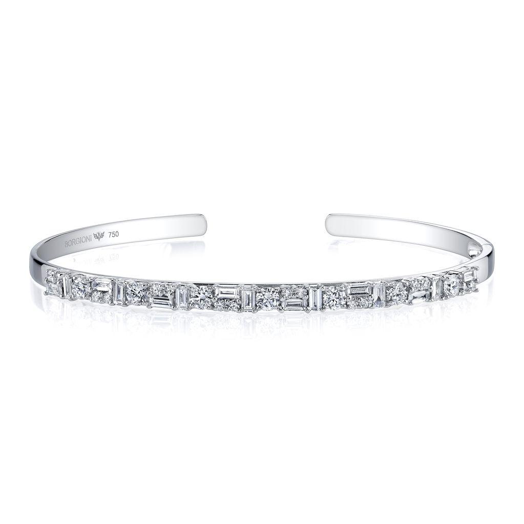 18K White Gold Mixed Cut Diamond Hinged Bangle<br /> 1.54cts diamonds
