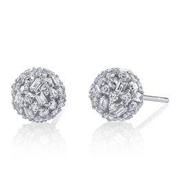Stud Earring 18K White Gold Pave Mixed Cut Diamond Ball Studs2.54cts diamonds