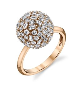 Rings 18K Rose Gold Medium Pave Mixed  Cut Diamond Ball Ring<br /> 1.95cts diamonds