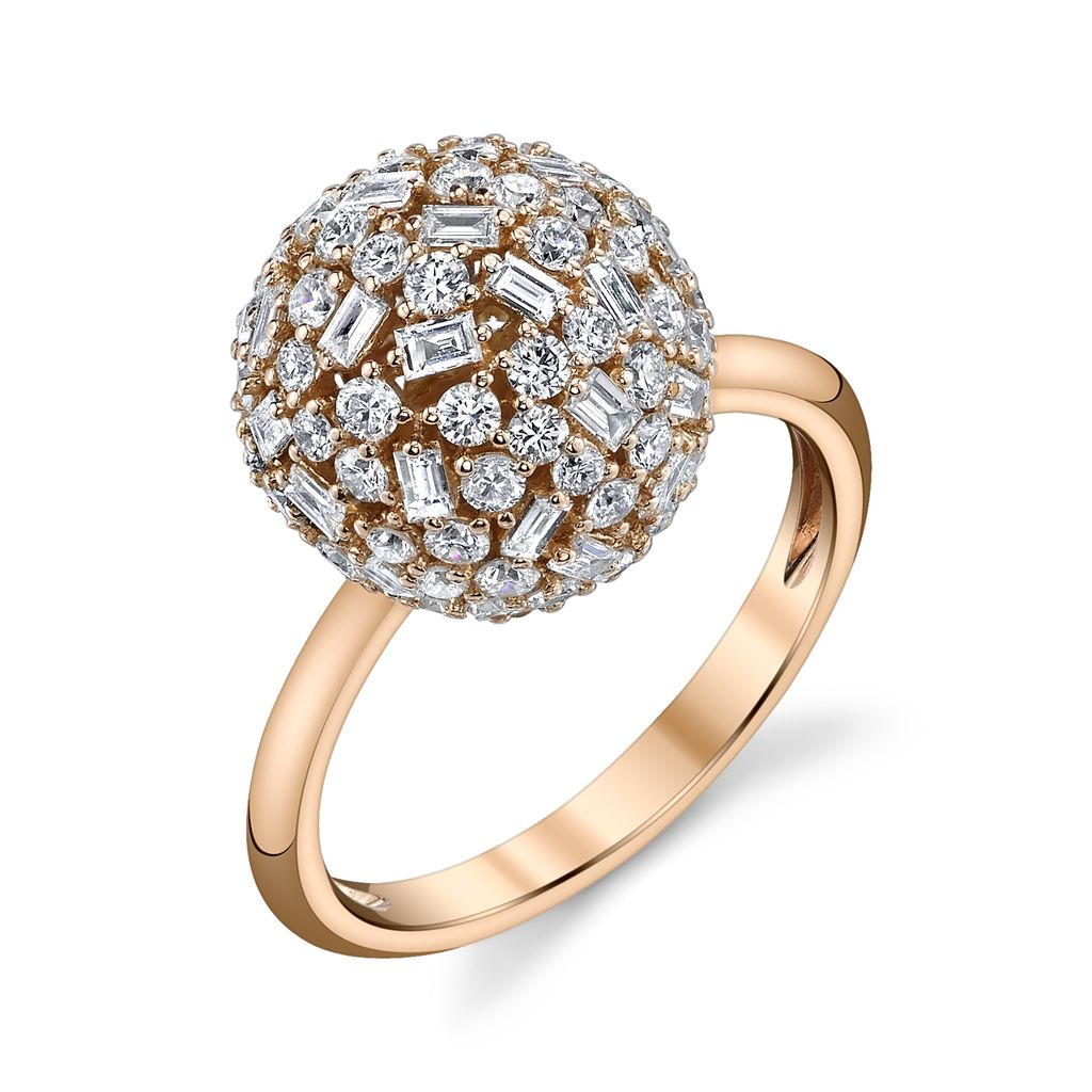 18K Rose Gold Medium Pave Mixed  Cut Diamond Ball Ring<br /> 1.95cts diamonds