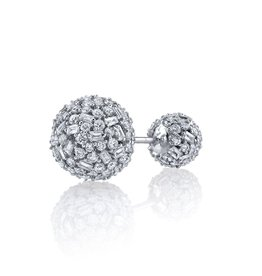 Stud Earring 18K White Gold Pave Mixed Cut Diamond Double Ball Stud<br /> 2.65cts diamonds