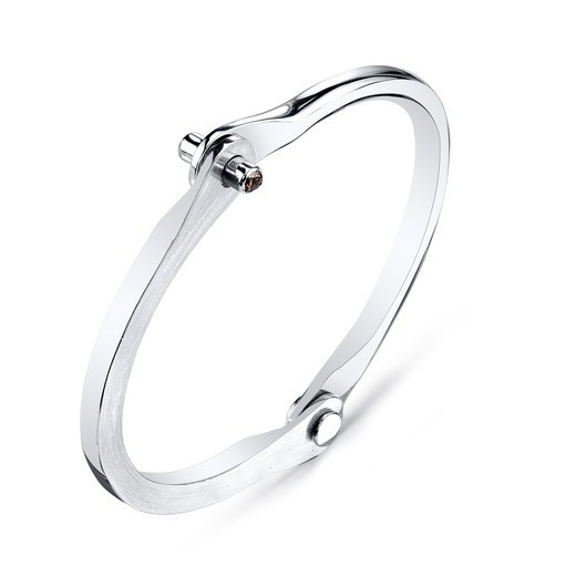 Men's Silver Handcuff with Brown Diamond Studs