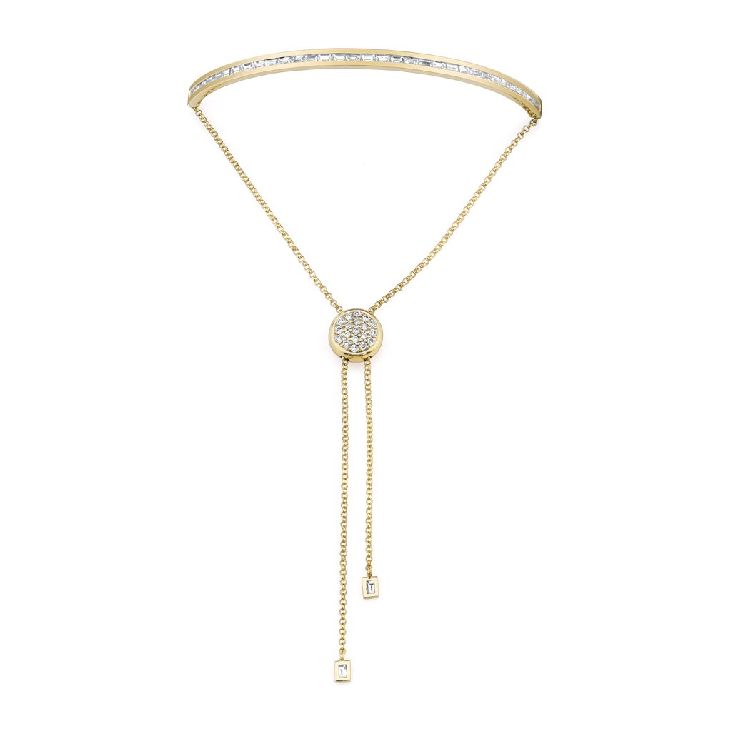 18K Yellow Gold, Diamond Baguette Toggle Bracelet<br />1.07cts diamond
