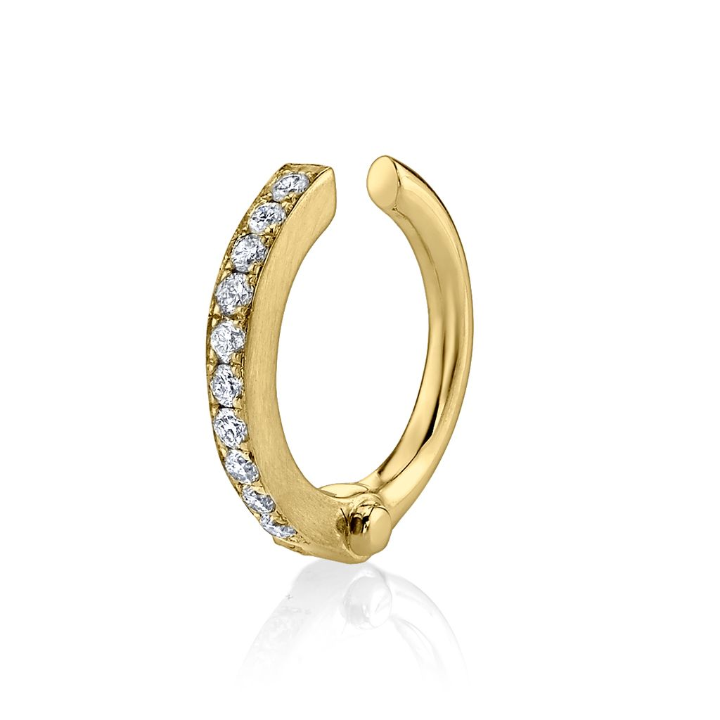 18K Yellow Gold Pave Diamond Handcuff Earcuff<br />