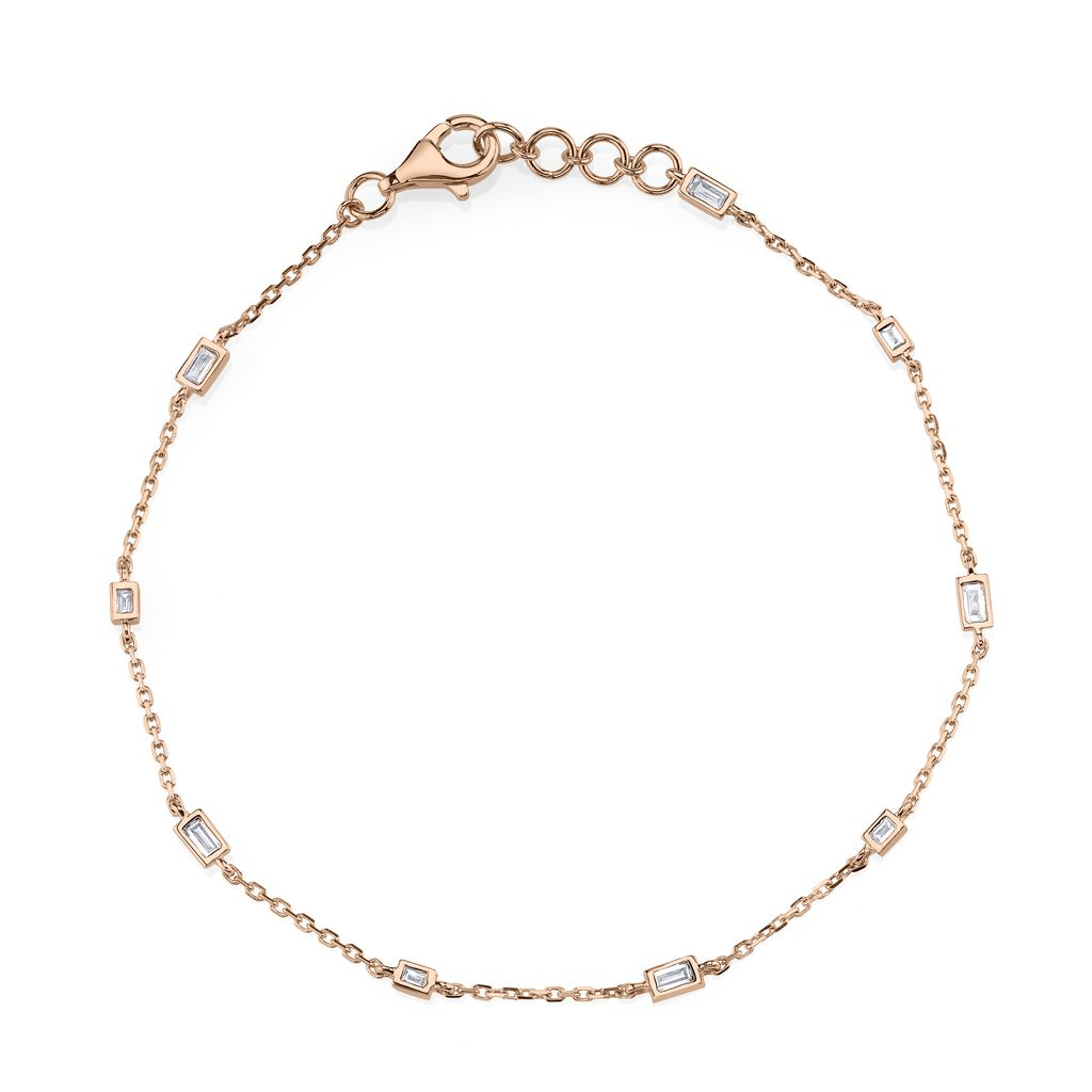 18K Rose Gold Mixed Diamond Baguette By The Yard Bracelet<br /> .29cts baguette diamonds