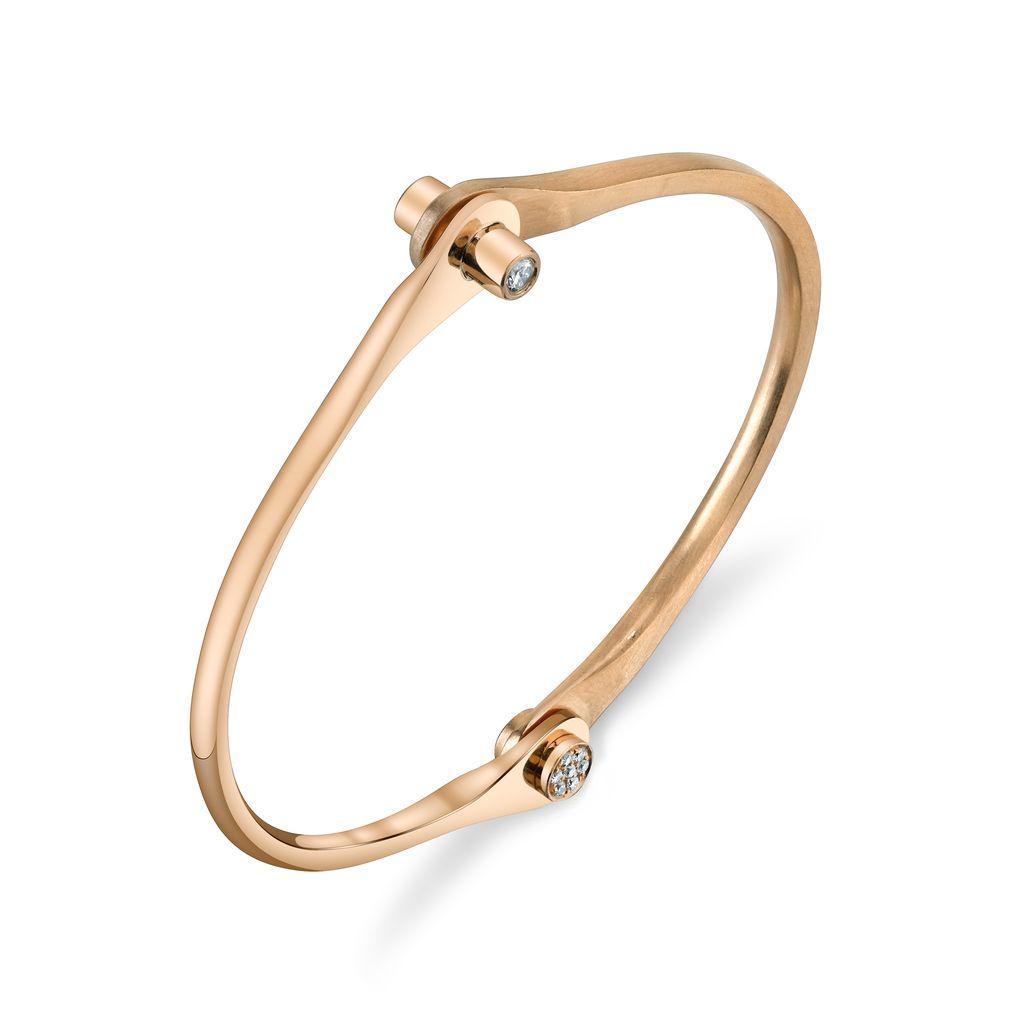 18K Rose Gold Skinny Handcuff w/ Diamond Knobs<br />.38cts. diamond