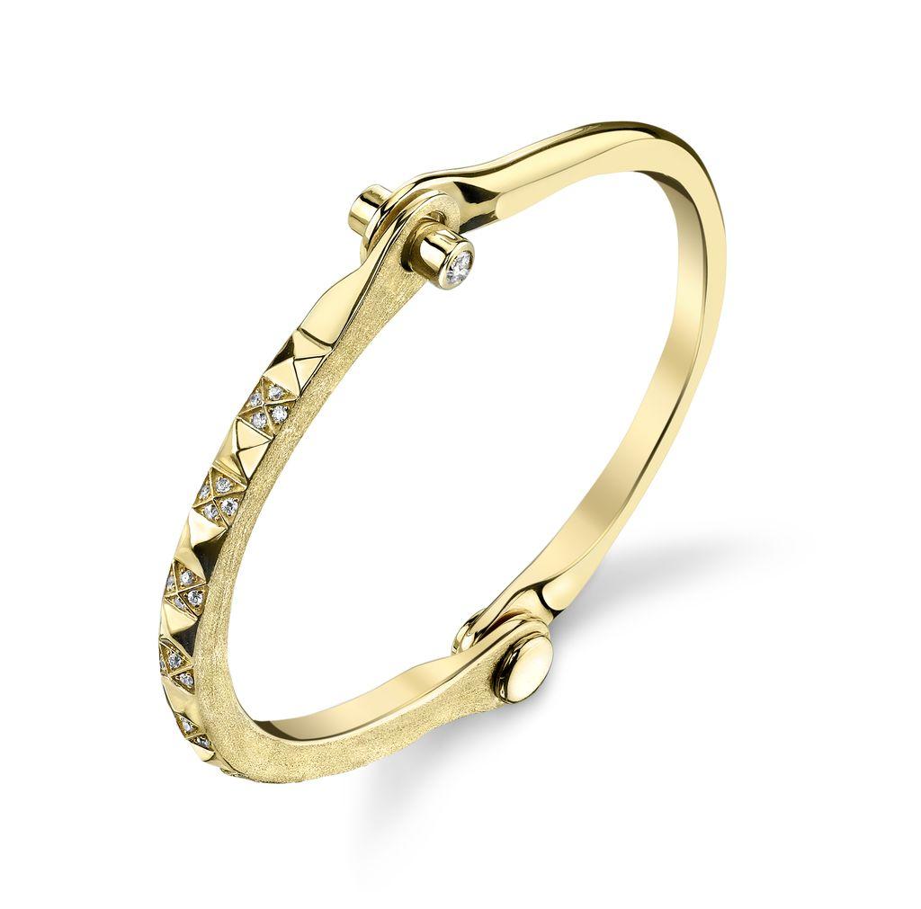 18K Yellow Gold Pave White Diamond Pyramid Handcuff<br />.50cts white diamond