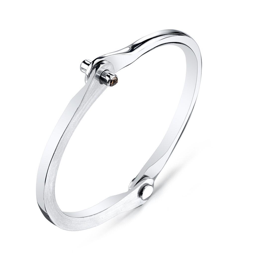 Women&#039;s Silver Handcuff w/ Brown Diamond Studs<br />.20 cts. br di&#039;s<br />size 1