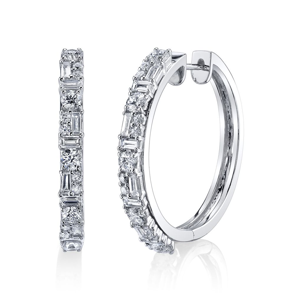 18K White Gold Mixed Cut Diamond Hoops<br /> 2.01cts diamonds