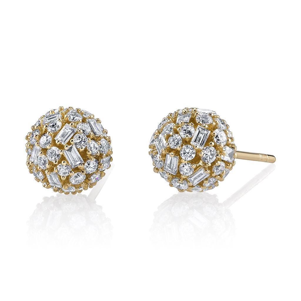 18K Yellow Gold Pave Mixed  Cut Diamond Ball Studs<br /> 2.54cts diamonds