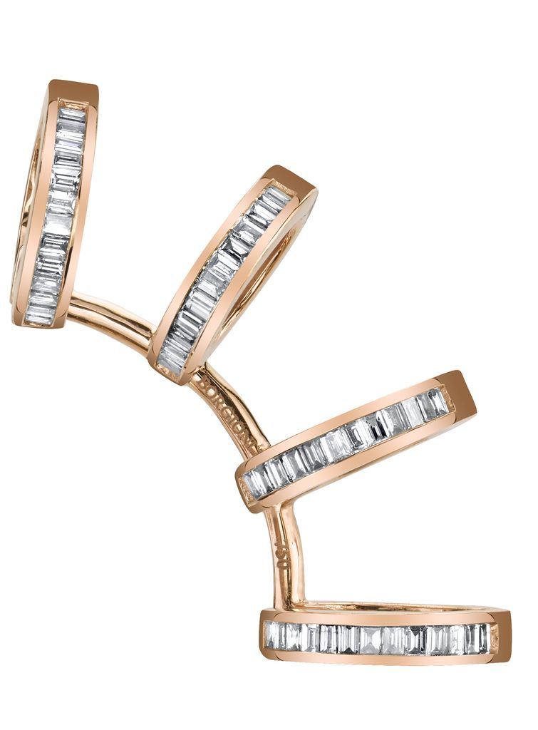 18K Rose Gold, Diamond Baguette Multi Earcuff<br />