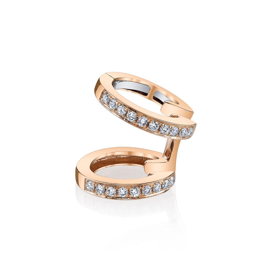 18K Rose Gold, Pave Diamond Multi Earcuff<br />.18cts diamonds