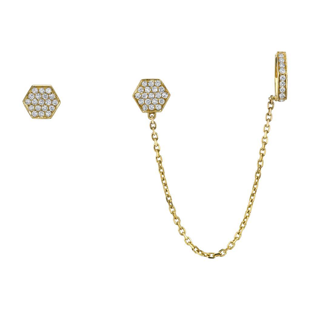 18K Yellow Gold Diamond Octagon Chain Earcuff<br />.40cts diamond