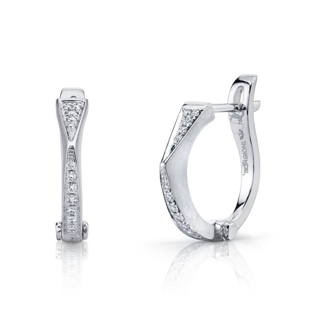 18k White Gold Diamond &quot;V&quot; Huggies<br />